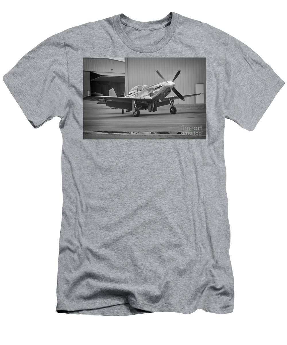 Fighter Pilots Men's T-Shirt (Athletic Fit) featuring the photograph P-51d Spam Can by Tommy Anderson