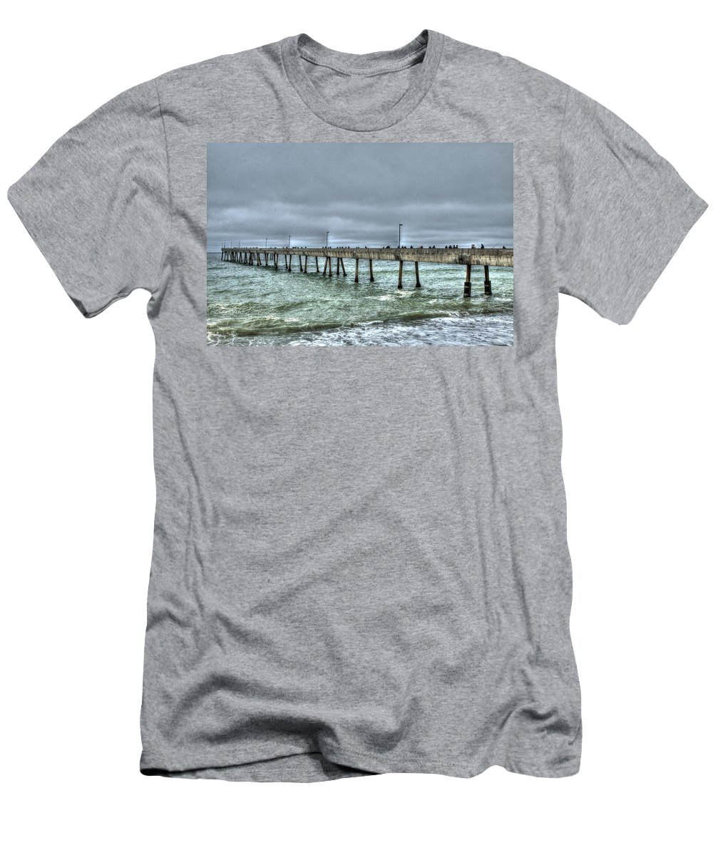 Beach Men's T-Shirt (Athletic Fit) featuring the photograph Pacifica Fishing Pier 7 V2 by SC Heffner