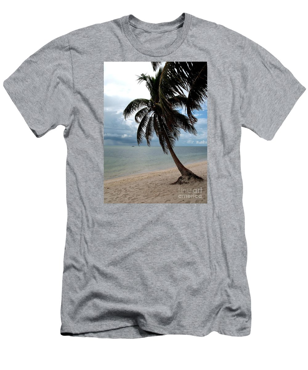 Beach Men's T-Shirt (Athletic Fit) featuring the photograph Palm On The Beach by Christiane Schulze Art And Photography