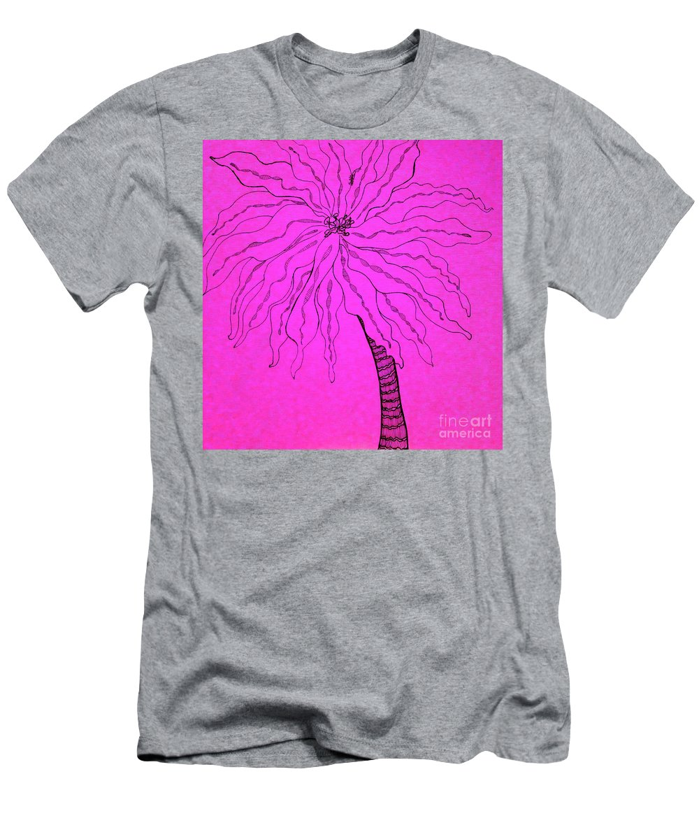 Palm Pink Men's T-Shirt (Athletic Fit) featuring the drawing Palm Pink by Anita Lewis