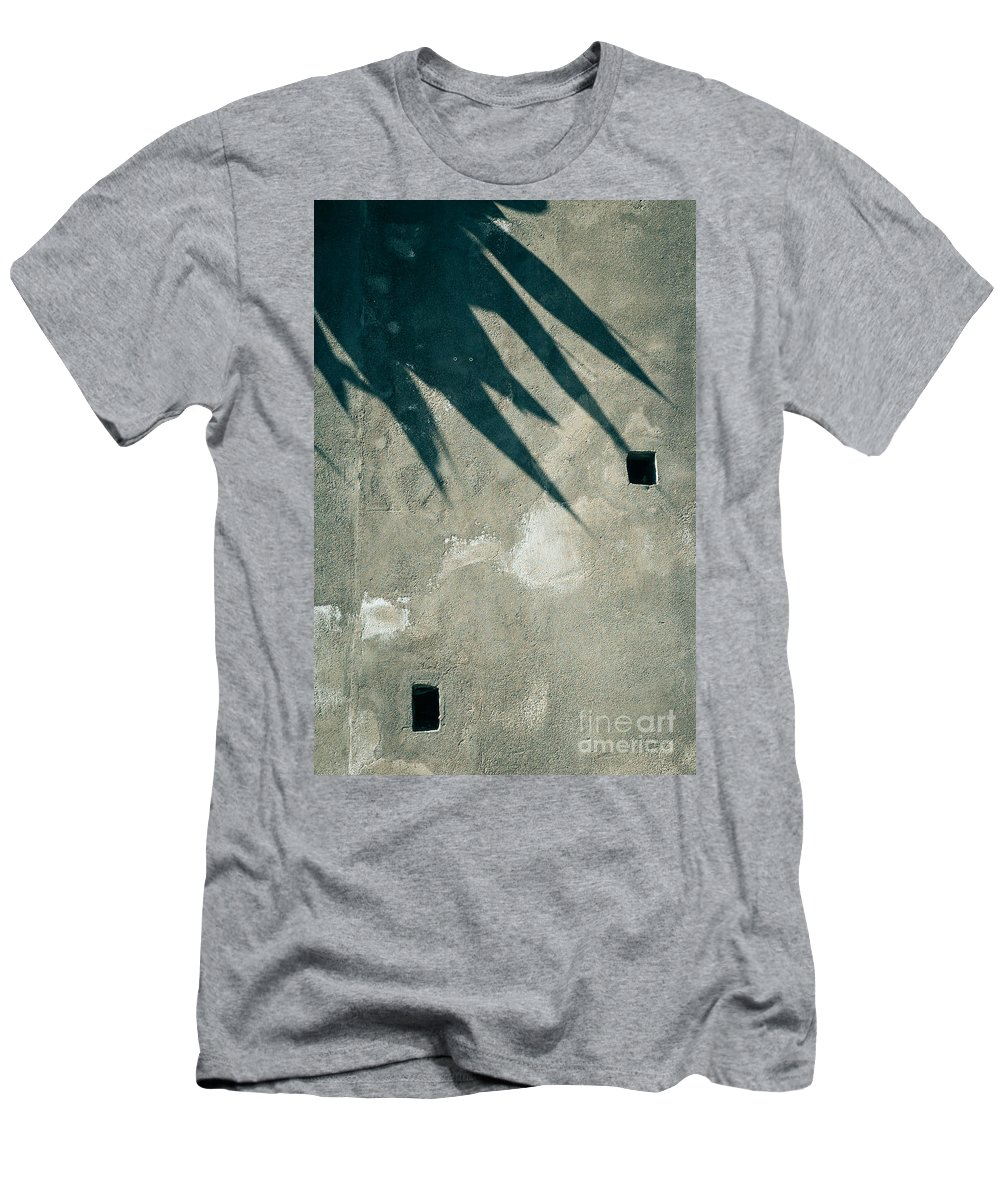 Abstract Men's T-Shirt (Athletic Fit) featuring the photograph Palm Tree Shadow On Wall With Holes by Silvia Ganora