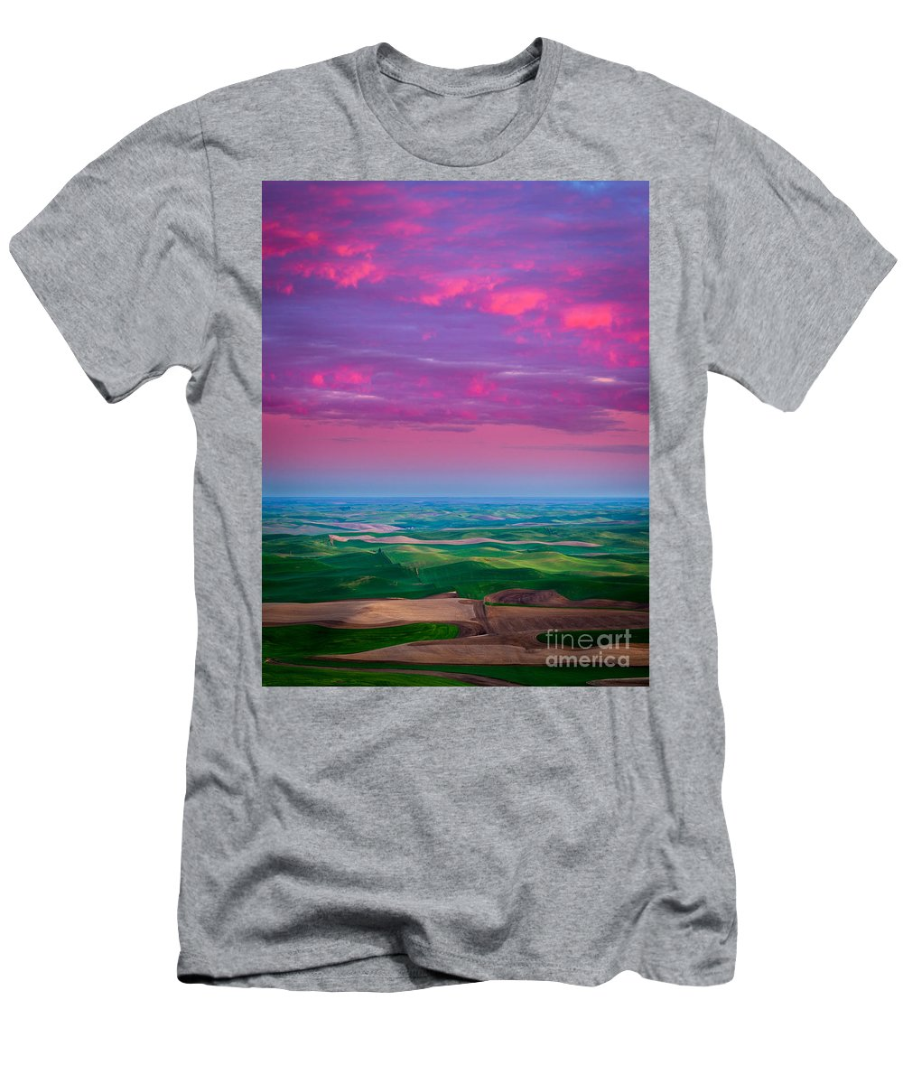America Men's T-Shirt (Athletic Fit) featuring the photograph Palouse Fiery Dawn by Inge Johnsson