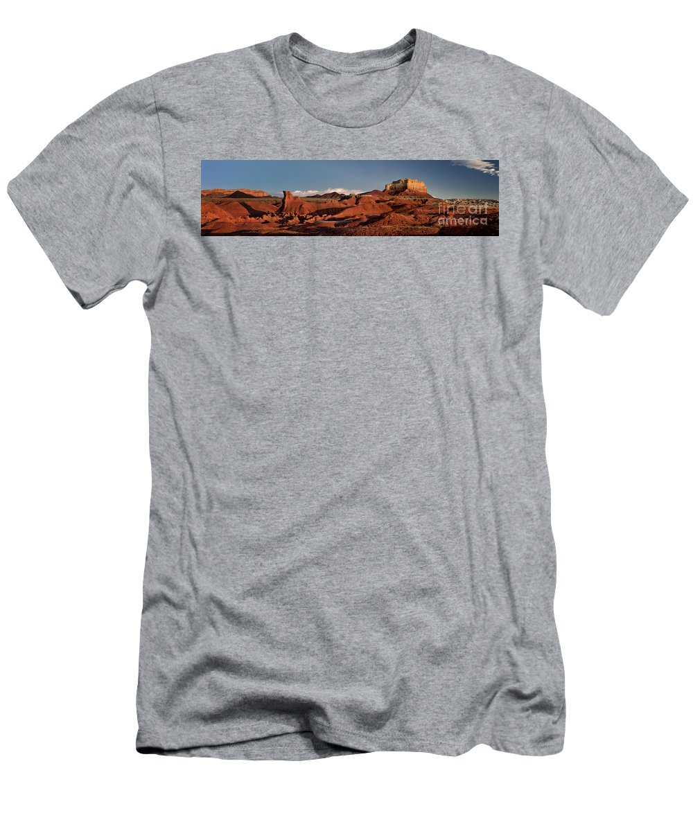 North America Men's T-Shirt (Athletic Fit) featuring the photograph Panorama Of Goblin Valley State Park Utah by Dave Welling