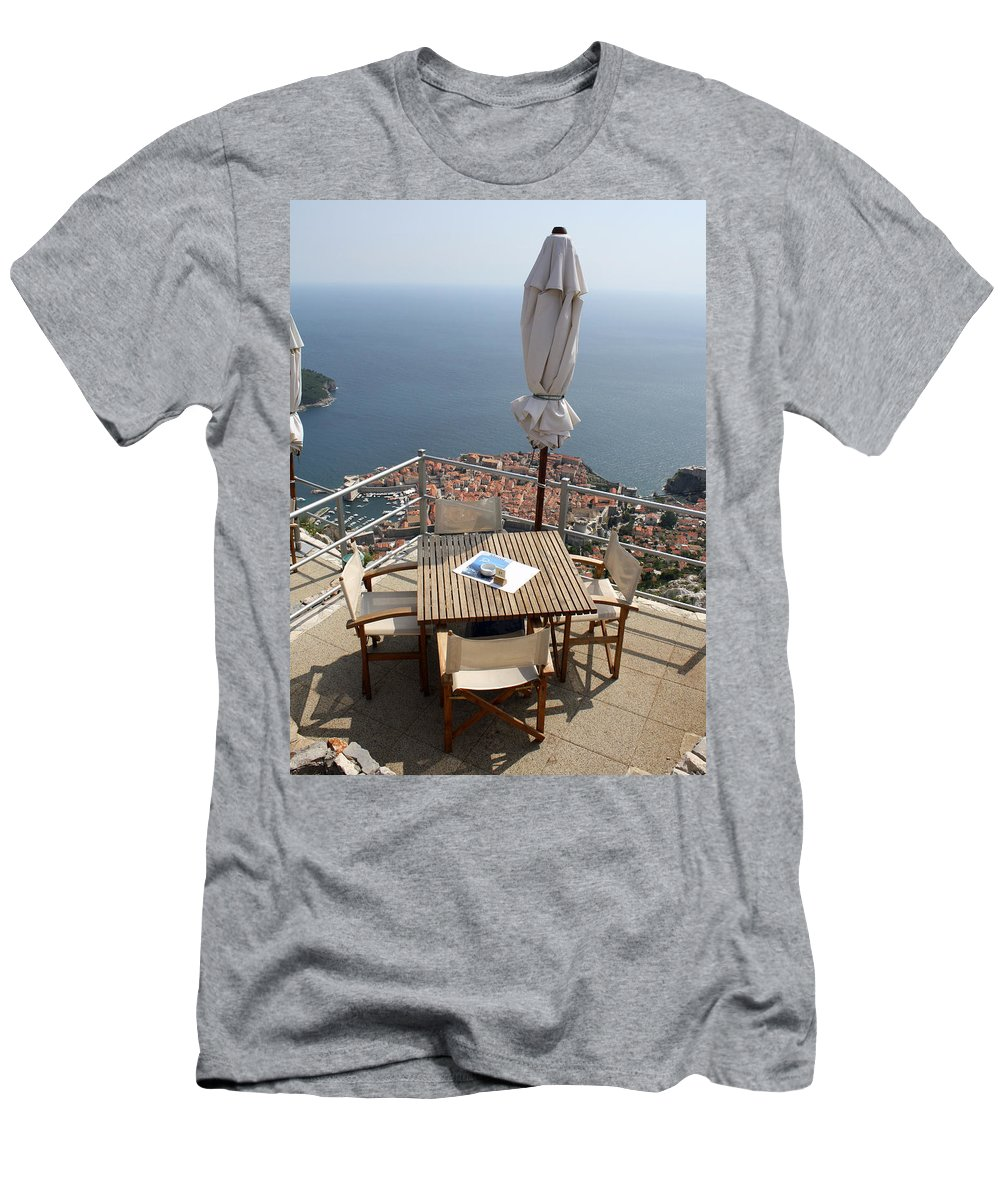 Dubrovnik Men's T-Shirt (Athletic Fit) featuring the photograph Panorama Restaurant by David Nicholls