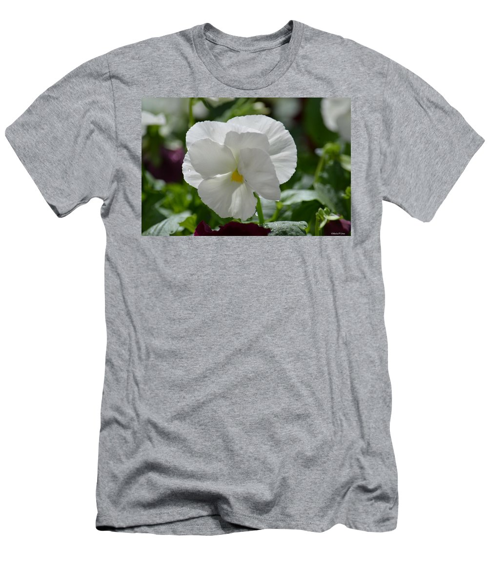 Pansy Purity Men's T-Shirt (Athletic Fit) featuring the photograph Pansy Purity by Maria Urso