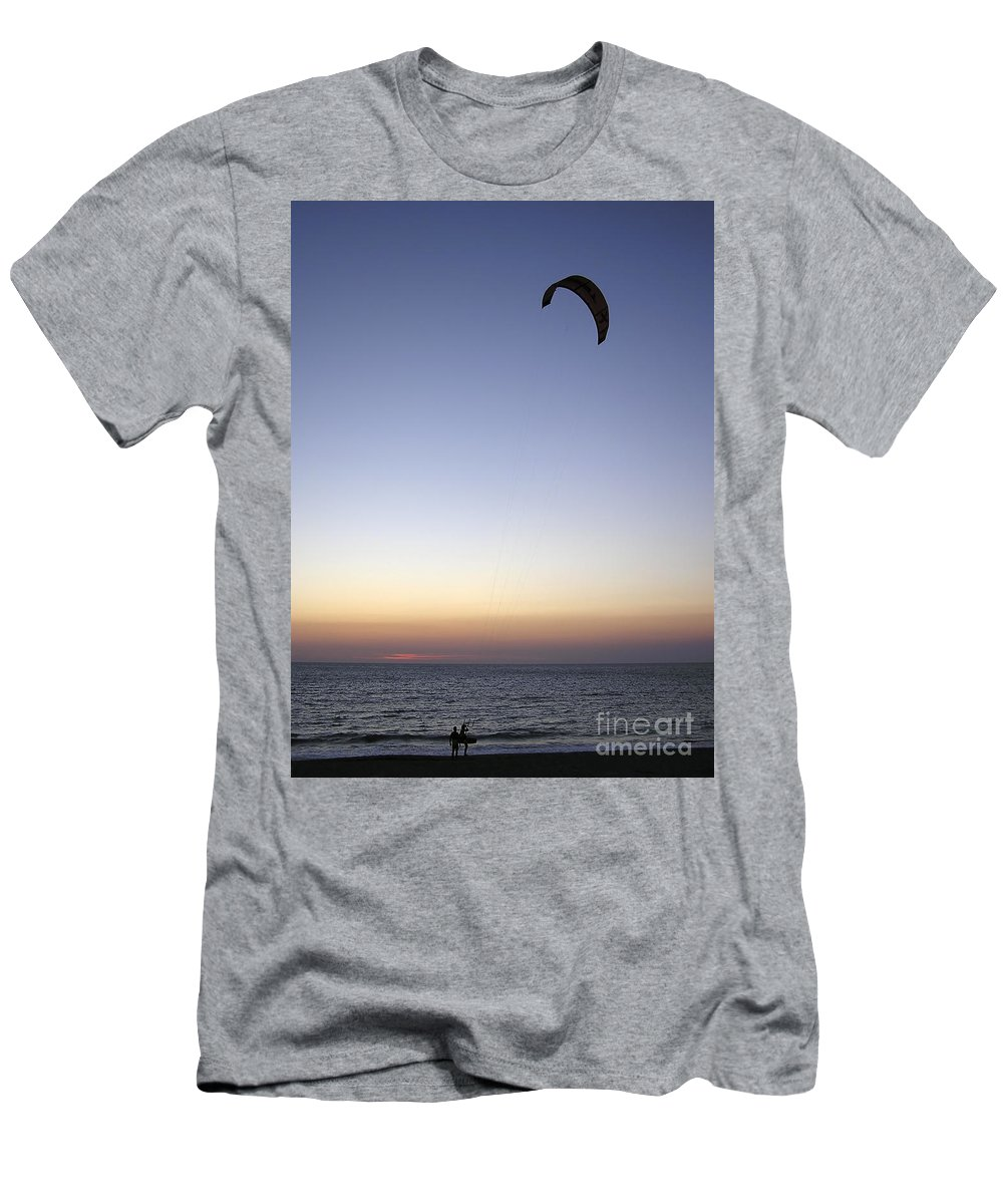 Paraglider Men's T-Shirt (Athletic Fit) featuring the photograph Paragliders Sunset by Zoran Berdjan