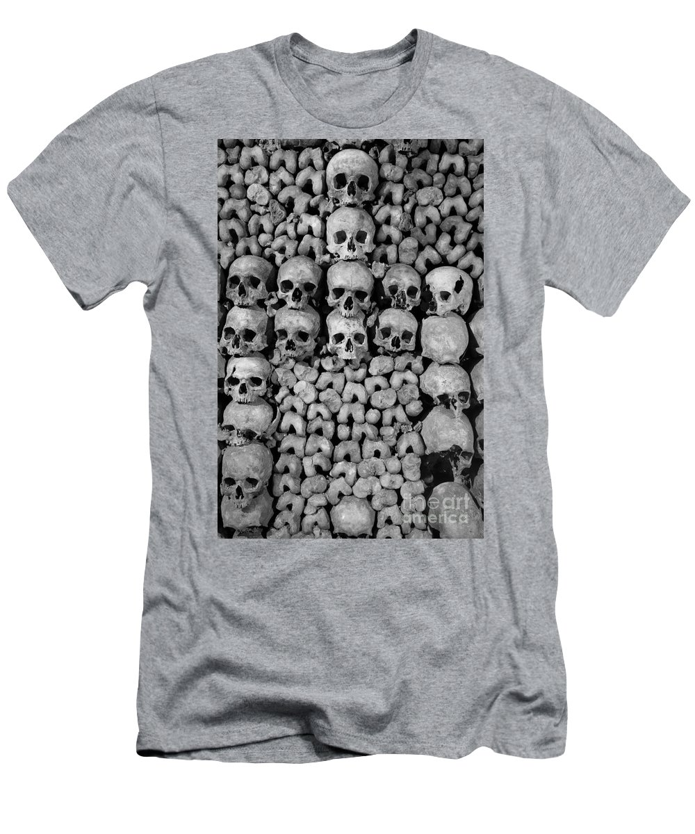 Bone Men's T-Shirt (Athletic Fit) featuring the photograph Paris Catacombs by Inge Johnsson