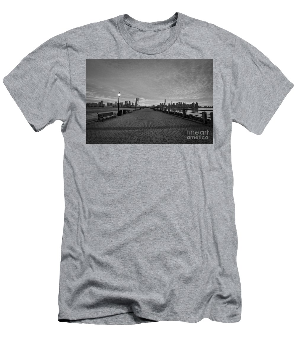 Path Way Men's T-Shirt (Athletic Fit) featuring the photograph Path To Manhattan by Michael Ver Sprill