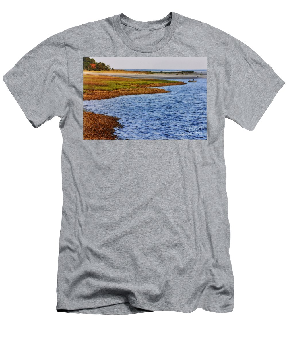 Boat Men's T-Shirt (Athletic Fit) featuring the photograph Peaceful Afternoon by Lydia Holly
