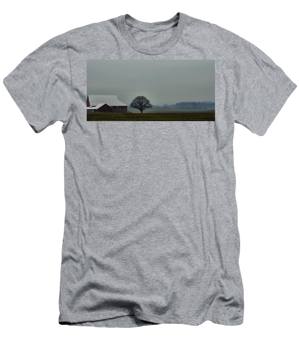 Country Road Men's T-Shirt (Athletic Fit) featuring the photograph Peaceful Country Morning by Don Schwartz