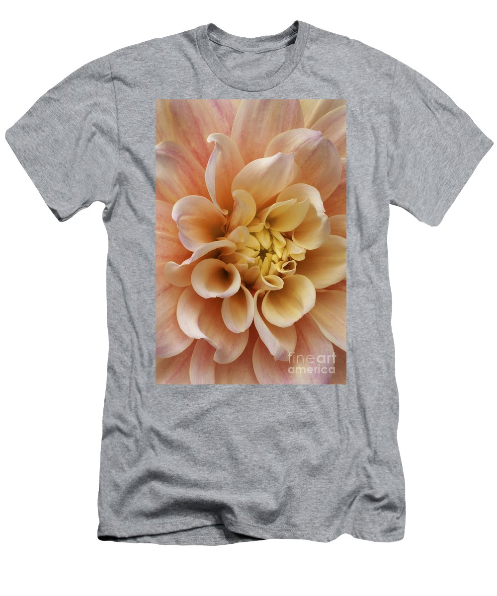 Dahlia Men's T-Shirt (Athletic Fit) featuring the photograph Peach Dahlia by Paul W Faust - Impressions of Light