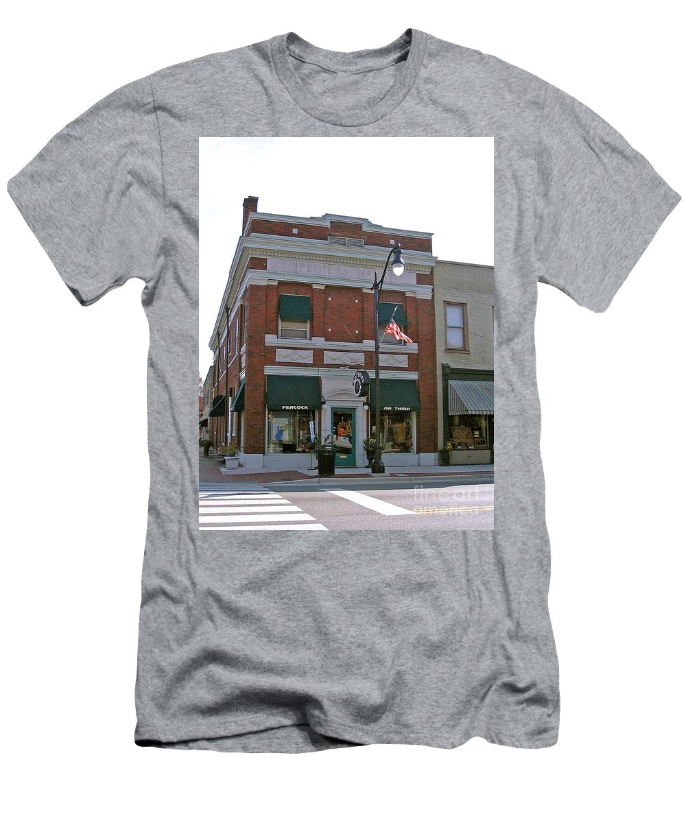 Photograph Men's T-Shirt (Athletic Fit) featuring the photograph Peacock On Third Street by Marian Bell
