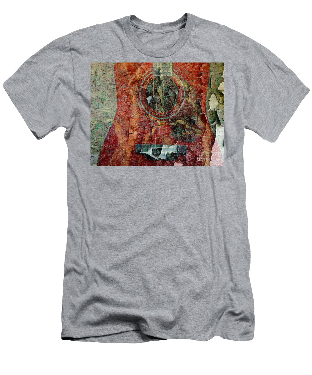 Peeling Guitar Men's T-Shirt (Athletic Fit) featuring the photograph Peeling Guitar by Barbara Griffin
