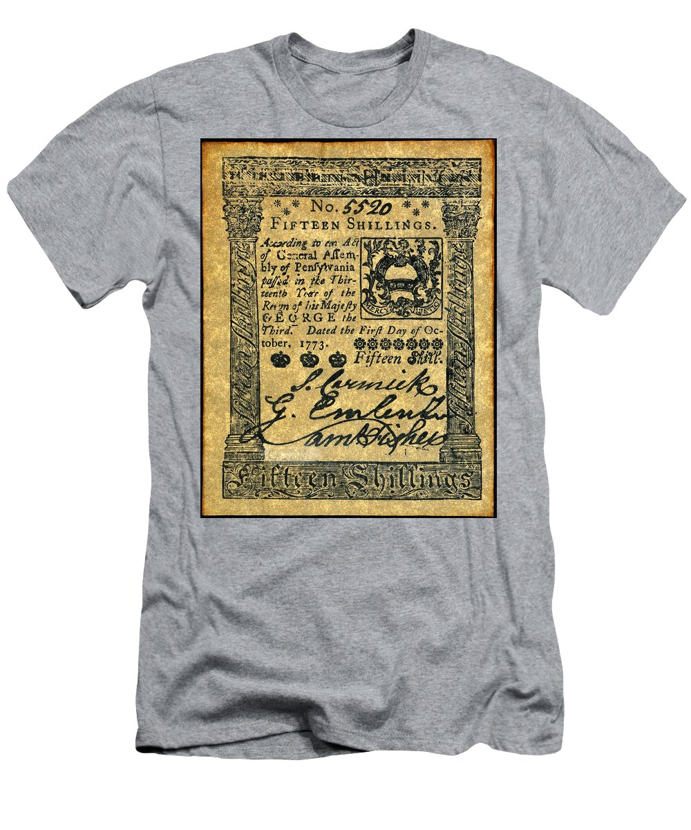 1773 Men's T-Shirt (Athletic Fit) featuring the photograph Penn. Banknote, 1773 by Granger