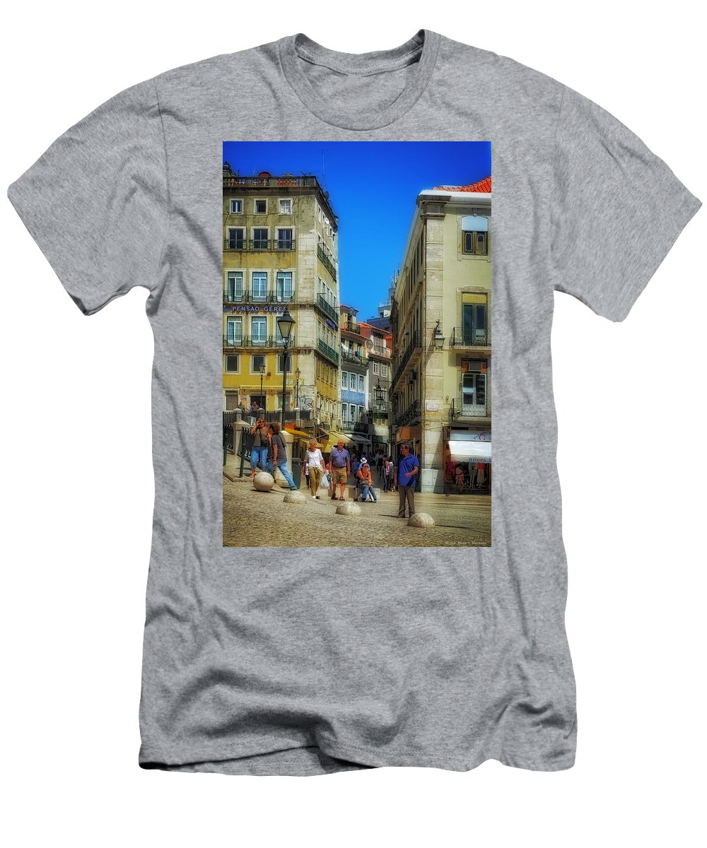 Photo Of Pensao Geres - Lisbon Men's T-Shirt (Athletic Fit) featuring the photograph Pensao Geres - Lisbon 2 by Mary Machare