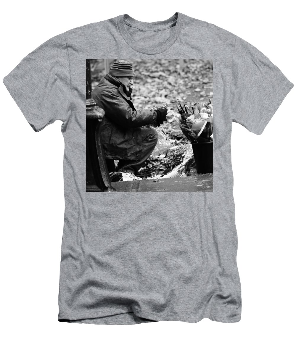 Street Photography Men's T-Shirt (Athletic Fit) featuring the photograph Petal Pusher by The Artist Project