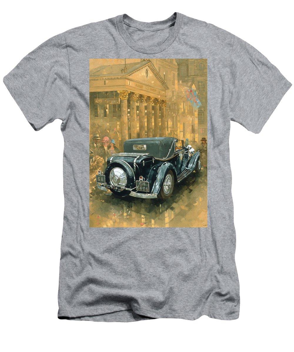 Rolls Royce Phantom Men's T-Shirt (Athletic Fit) featuring the painting Phantom In The Haymarket by Peter Miller