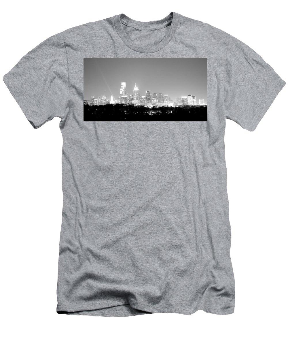 Philadelphia Men's T-Shirt (Athletic Fit) featuring the photograph Philadelphia City Glow by Deborah Crew-Johnson