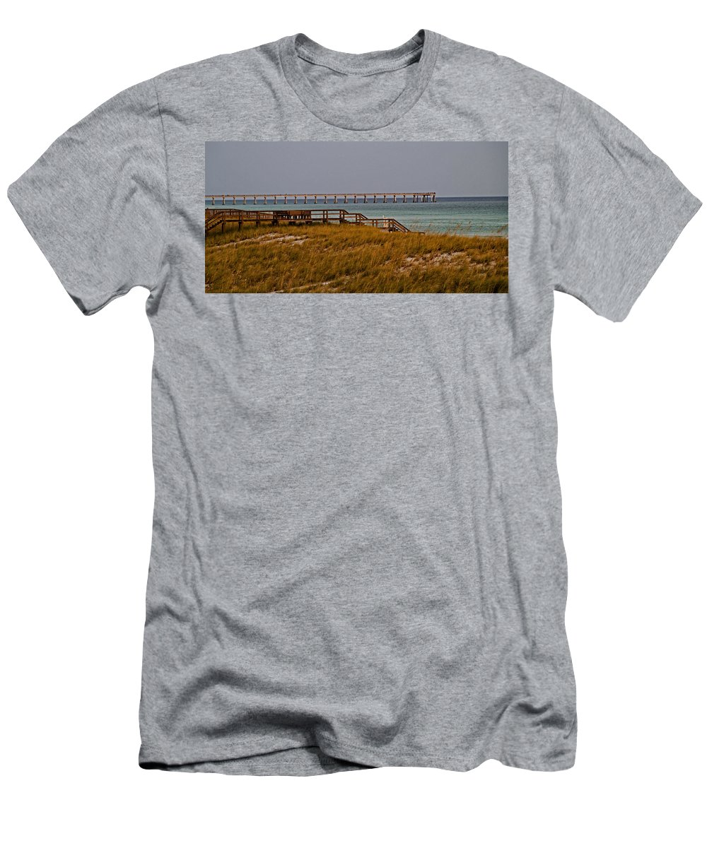 Beach Men's T-Shirt (Athletic Fit) featuring the photograph Pierview by David Campbell