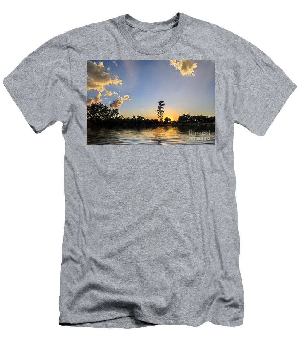 Pine Tree Men's T-Shirt (Athletic Fit) featuring the photograph Pine Tree At Sunset by Viktor Birkus