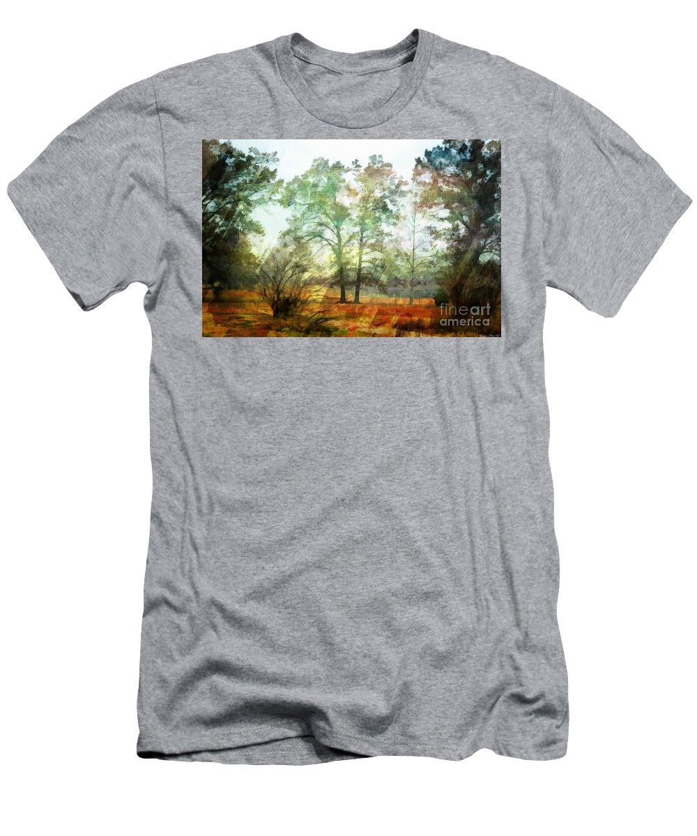 Mist Men's T-Shirt (Athletic Fit) featuring the photograph Pine Trees In Mist 2 - Digital Paint by Debbie Portwood