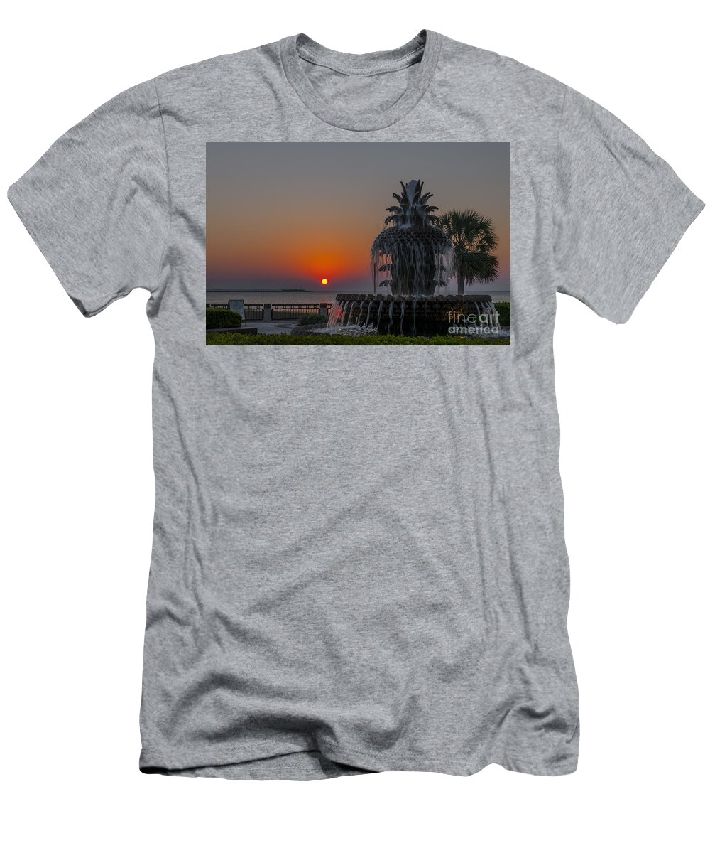Pineapple Fountain At Waterfront Park In Downtown Charleston Sc Men's T-Shirt (Athletic Fit) featuring the photograph Charleston Harbor Sunrise by Dale Powell