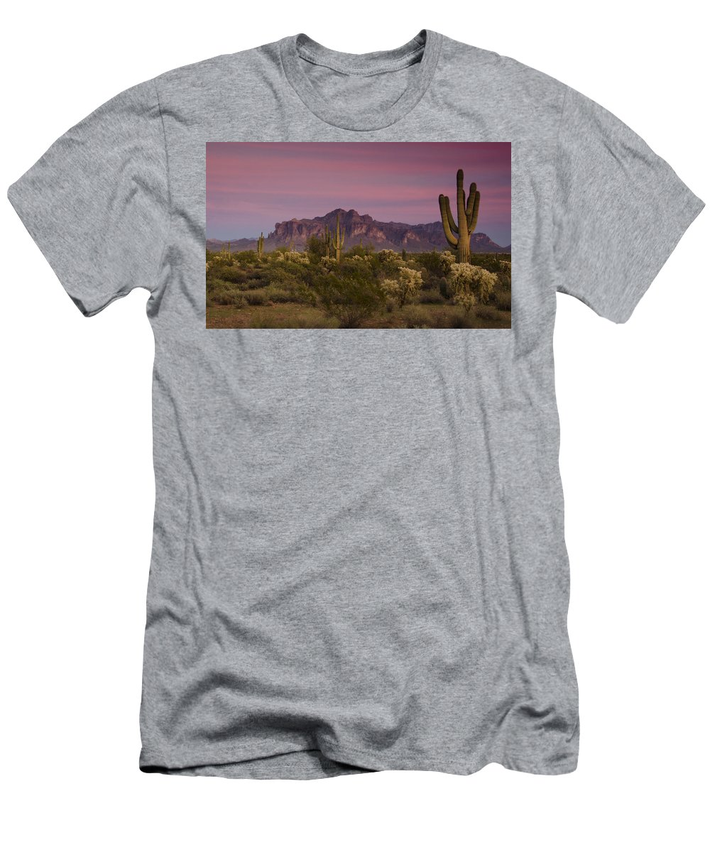 Sunset Men's T-Shirt (Athletic Fit) featuring the photograph Pink And Purple Skies by Saija Lehtonen