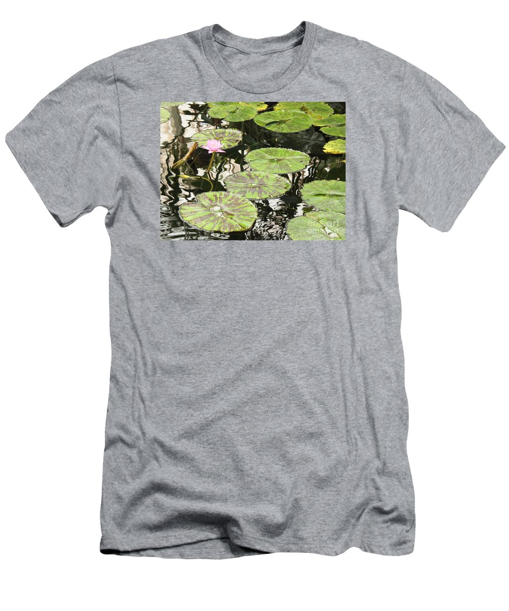 Pond Men's T-Shirt (Athletic Fit) featuring the photograph One Pink Water Lily With Lily Pads by Carol Groenen
