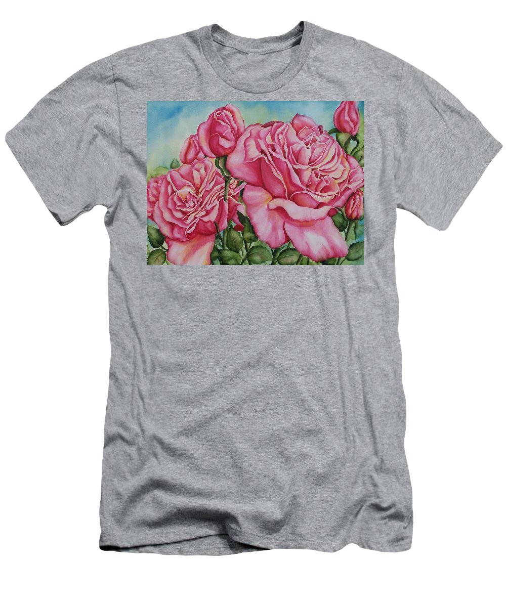 Rose Men's T-Shirt (Athletic Fit) featuring the painting Pink Frillies by Conni Reinecke