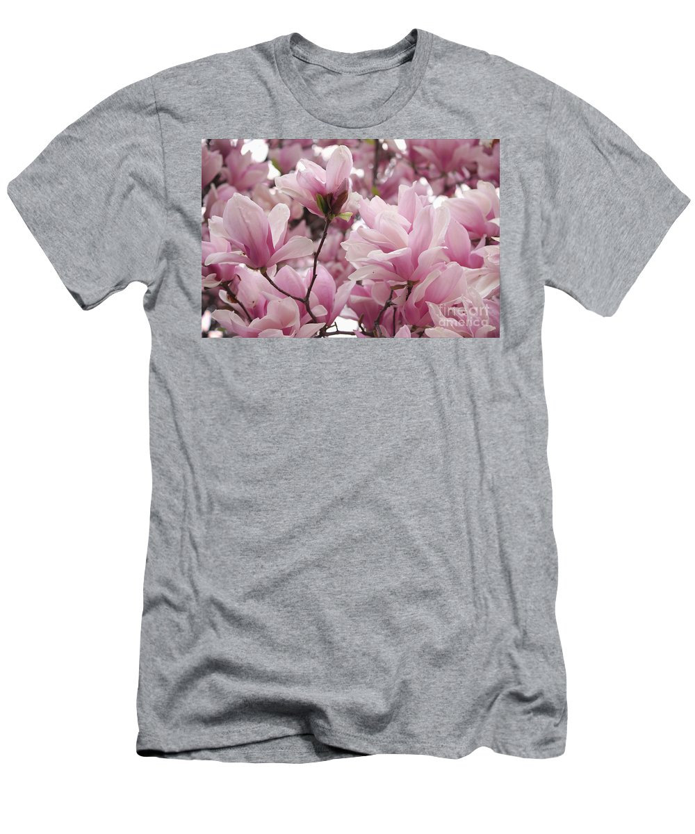 Magnolia Men's T-Shirt (Athletic Fit) featuring the photograph Pink Magnolia Blossoms Washington Dc by Luv Photography