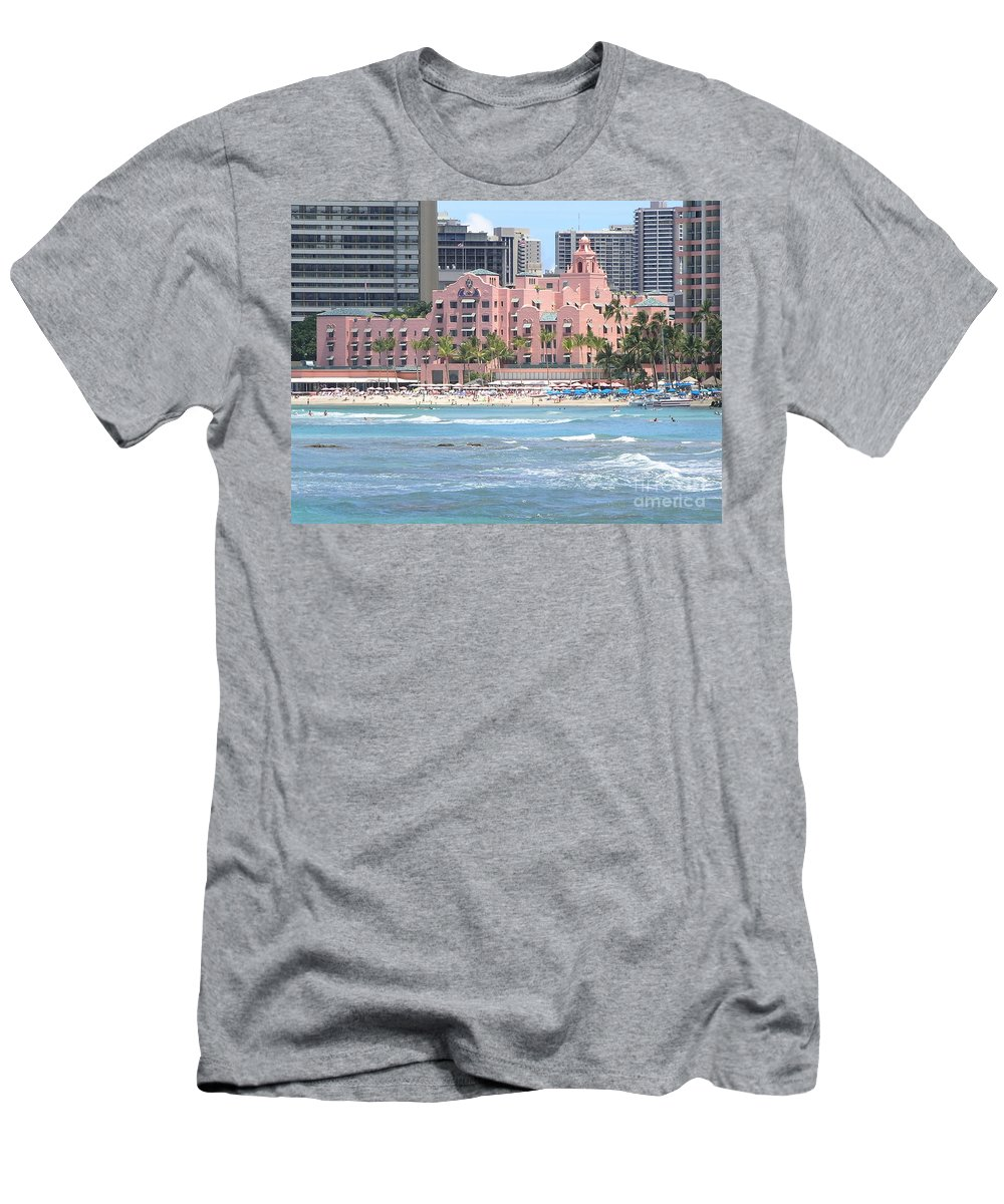 Beach Men's T-Shirt (Athletic Fit) featuring the photograph Pink Palace On Waikiki Beach by Mary Deal