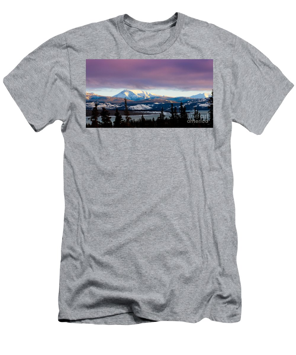 Blue Men's T-Shirt (Athletic Fit) featuring the photograph Pink Winter Clouds by Stephan Pietzko