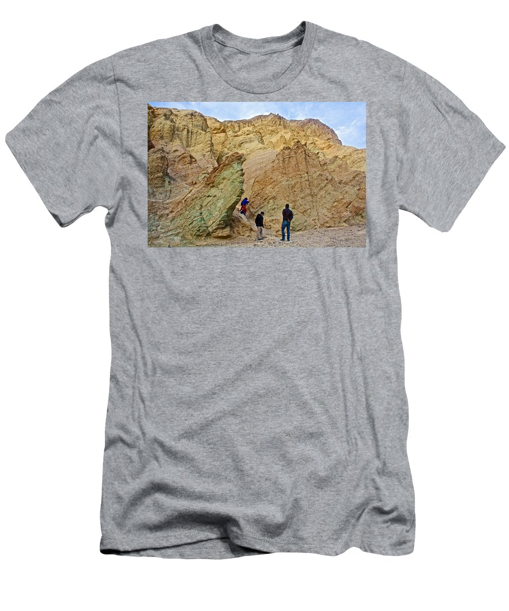 Places To Climb In Golden Canyon In Death Valley National Park Men's T-Shirt (Athletic Fit) featuring the photograph Places To Climb In Golden Canyon In Death Valley National Park-california by Ruth Hager