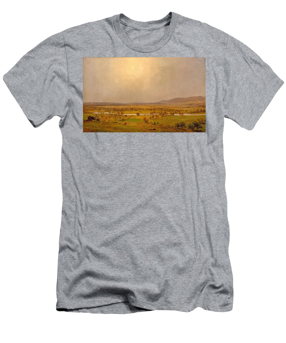 Jasper Francis Cropsey Men's T-Shirt (Athletic Fit) featuring the painting Pompton Plains. New Jersey by Jasper Francis Cropsey
