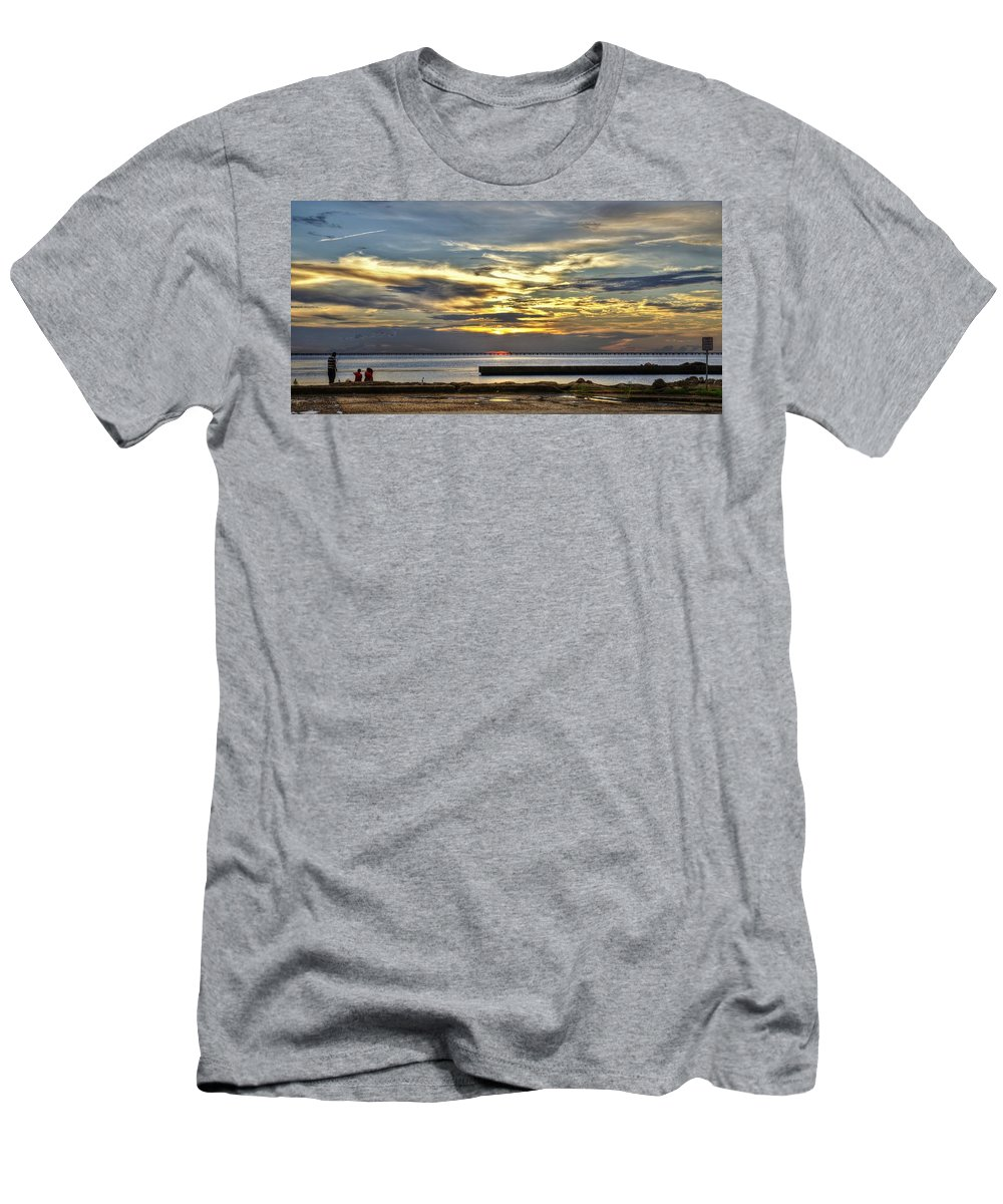 New Orleans Men's T-Shirt (Athletic Fit) featuring the photograph Pontchartrain Sunset by William Morgan