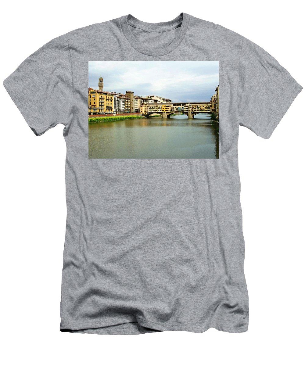 Ponte Vecchio Men's T-Shirt (Athletic Fit) featuring the photograph Ponte Vecchio 1 by Ellen Henneke
