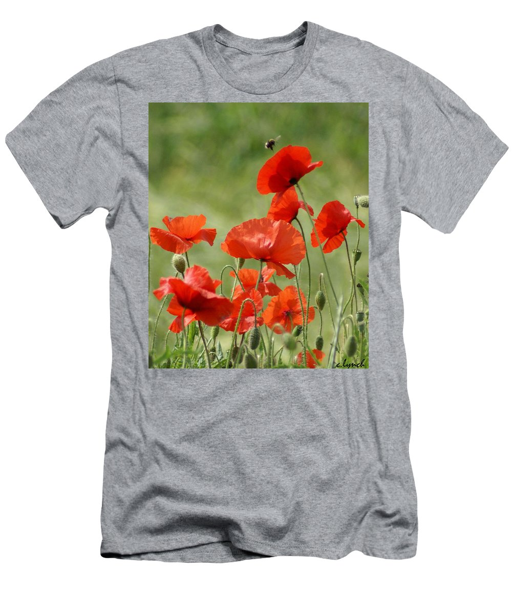 Poppies Men's T-Shirt (Athletic Fit) featuring the photograph Poppies 1 by Carol Lynch