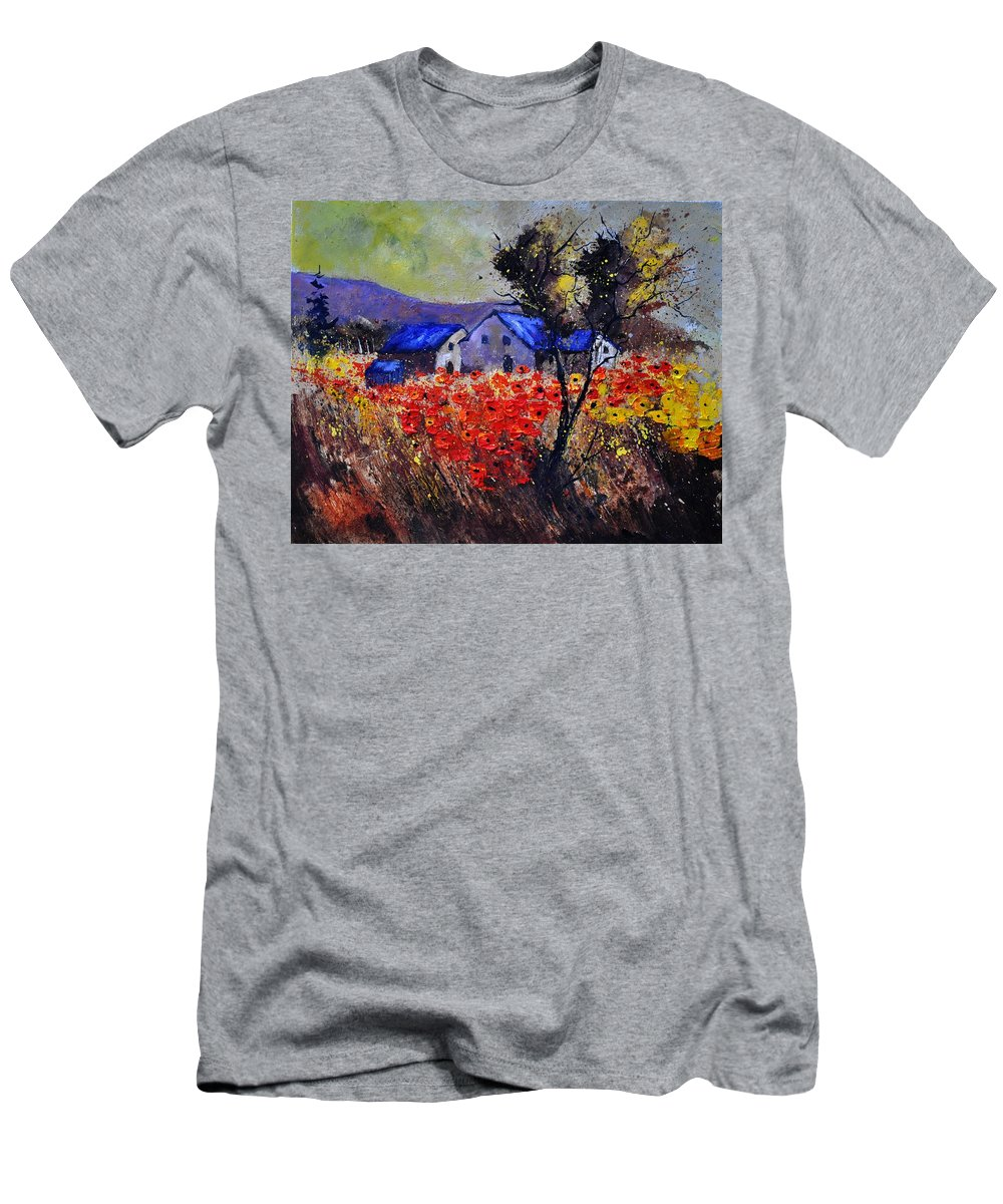 Landscape Men's T-Shirt (Athletic Fit) featuring the painting Poppies 4110 by Pol Ledent