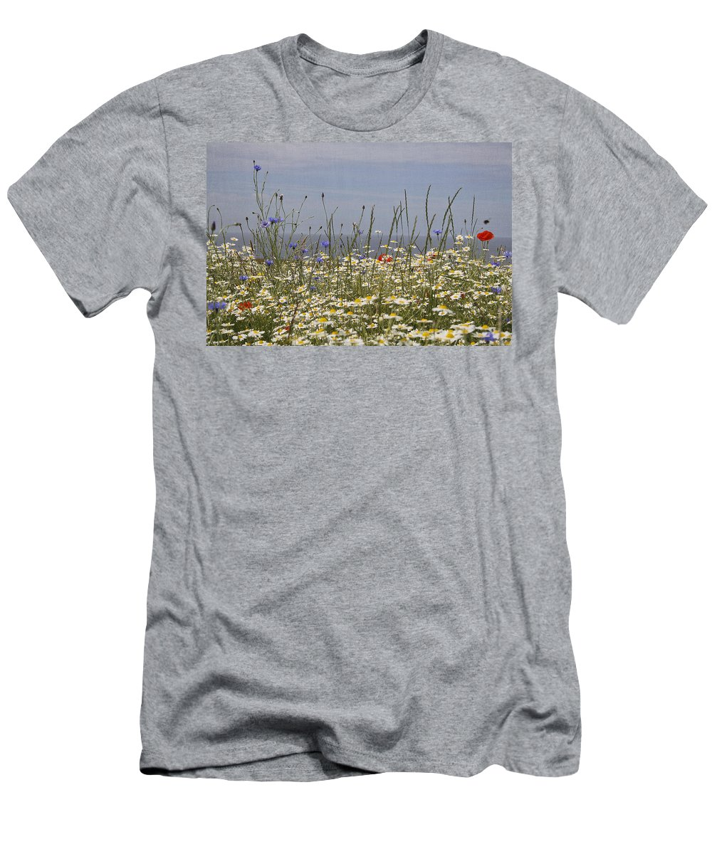 Wildflowers Men's T-Shirt (Athletic Fit) featuring the photograph Poppies Et Al V by Jacqui Hall