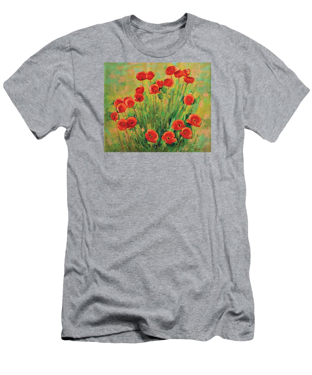 Poppies T-Shirt featuring the painting Poppies by Iliyan Bozhanov