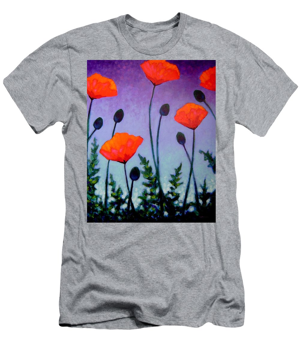 Acrylic Men's T-Shirt (Athletic Fit) featuring the painting Poppies In The Sky II by John Nolan