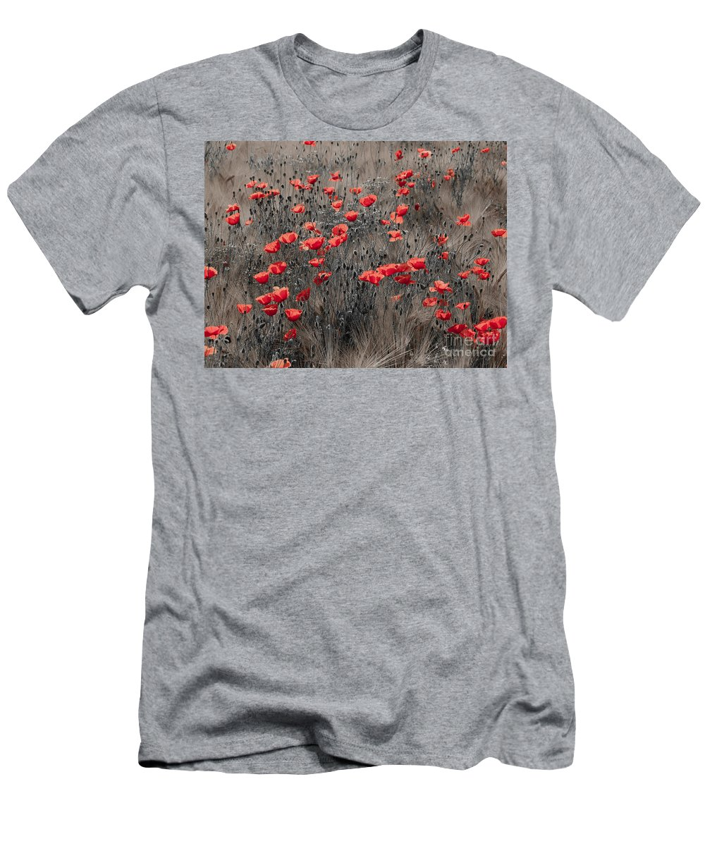 Poppy Men's T-Shirt (Athletic Fit) featuring the photograph Poppy Field by Brothers Beerens