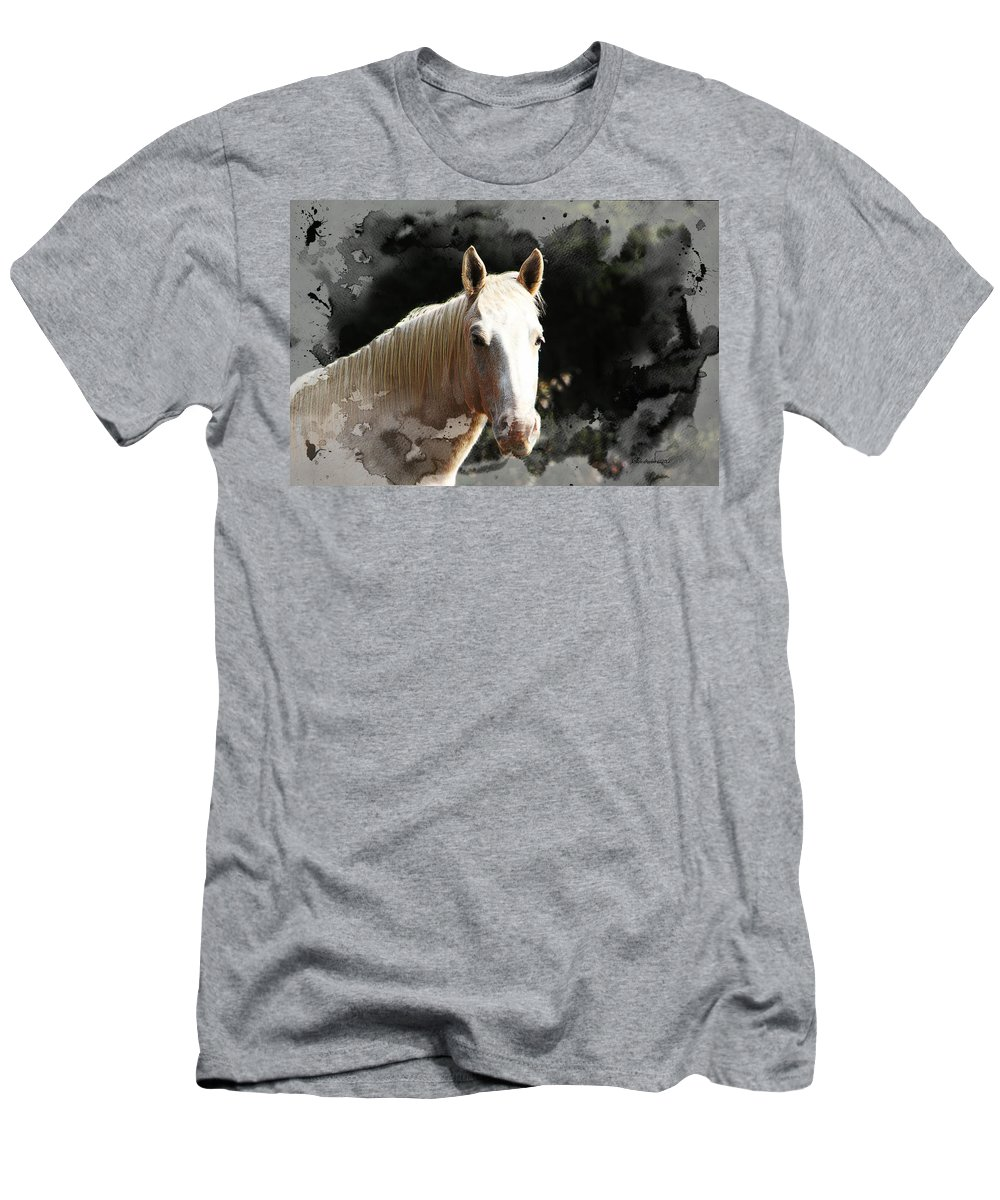 Horse Men's T-Shirt (Athletic Fit) featuring the photograph Portrait In Watercolor - Featured In Spectacular Artworks Of Faa by Ericamaxine Price