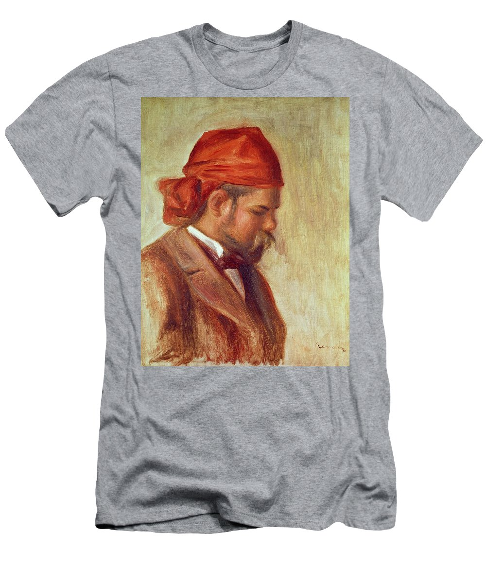 Impressionist Men's T-Shirt (Athletic Fit) featuring the photograph Portrait Of Ambroise Vollard 1868-1939 Oil On Panel by Pierre Auguste Renoir