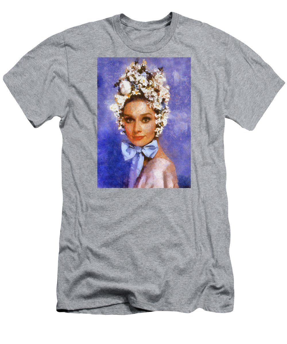 Portrait Men's T-Shirt (Athletic Fit) featuring the digital art Portrait Of Audrey Hepburn by Charmaine Zoe