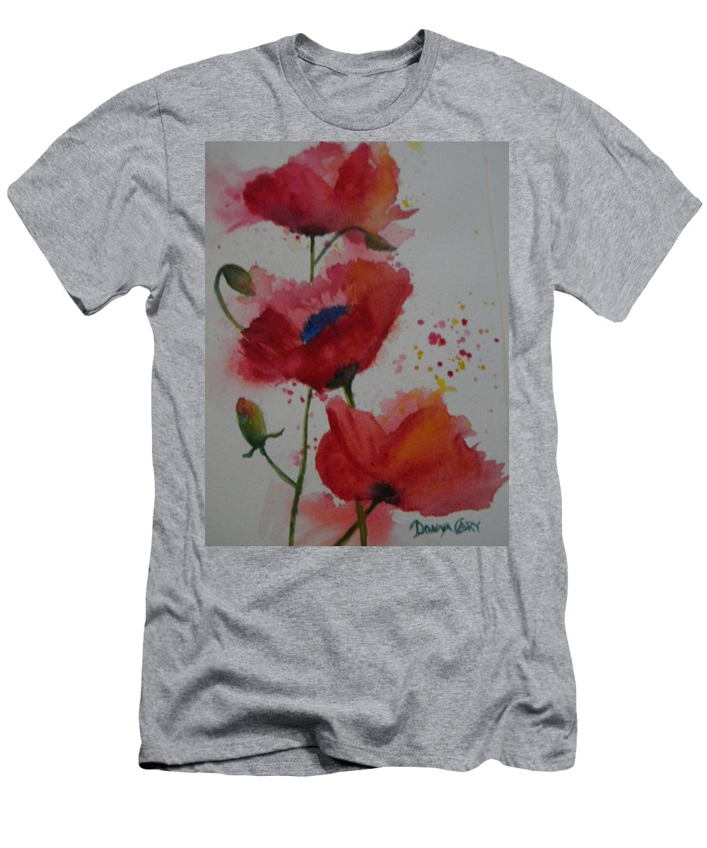 Three Red Poppies With Buds Men's T-Shirt (Athletic Fit) featuring the painting Positively Poppies by Donna Cary