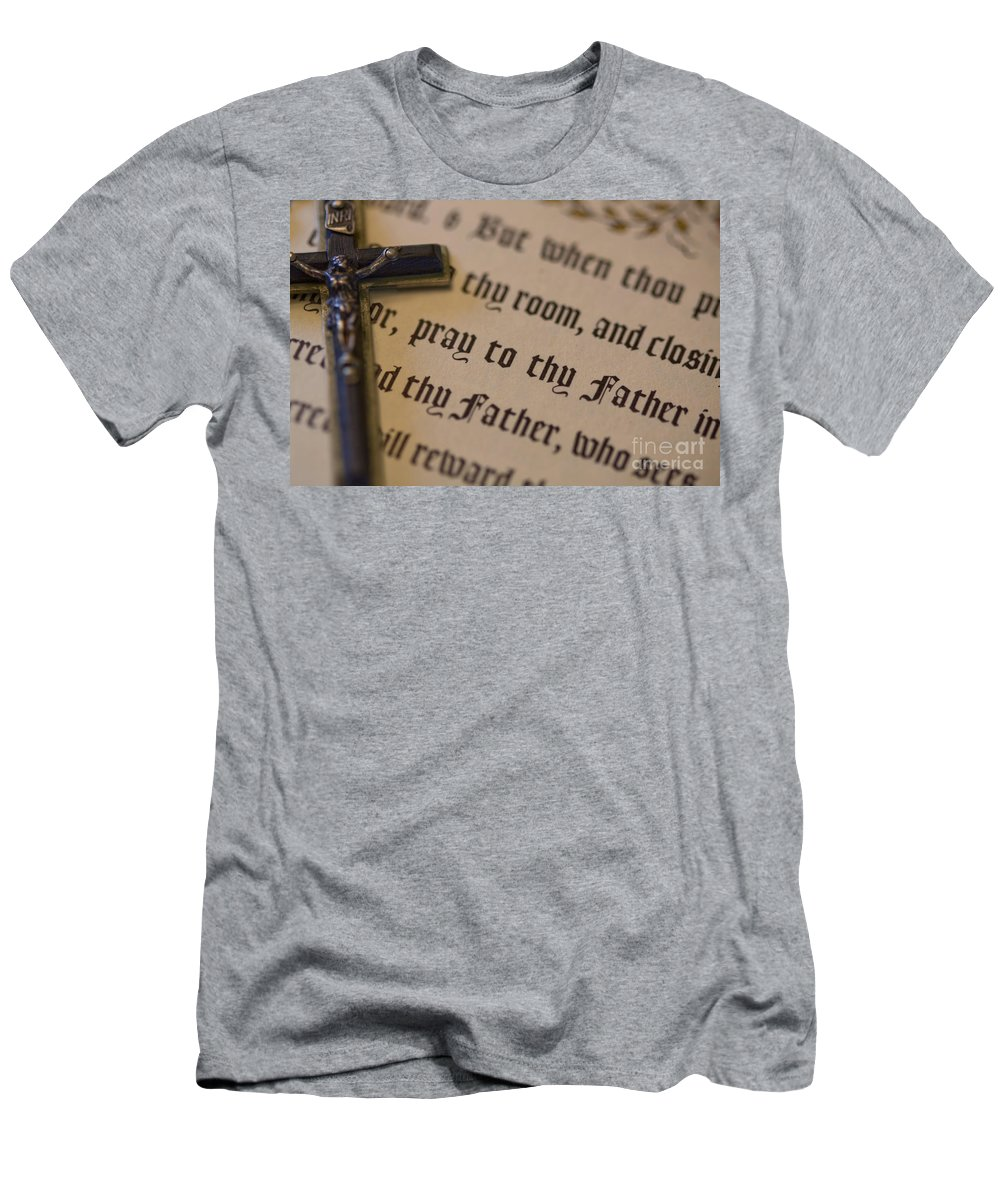 Antique; Crucifix; Jesus Christ; Bible; Old; Symbol; Religion; Book; Words; Pray; Symbolism; Close Up; Still Life; Object; Read; Prayer Men's T-Shirt (Athletic Fit) featuring the photograph Pray To Thy Father by Margie Hurwich