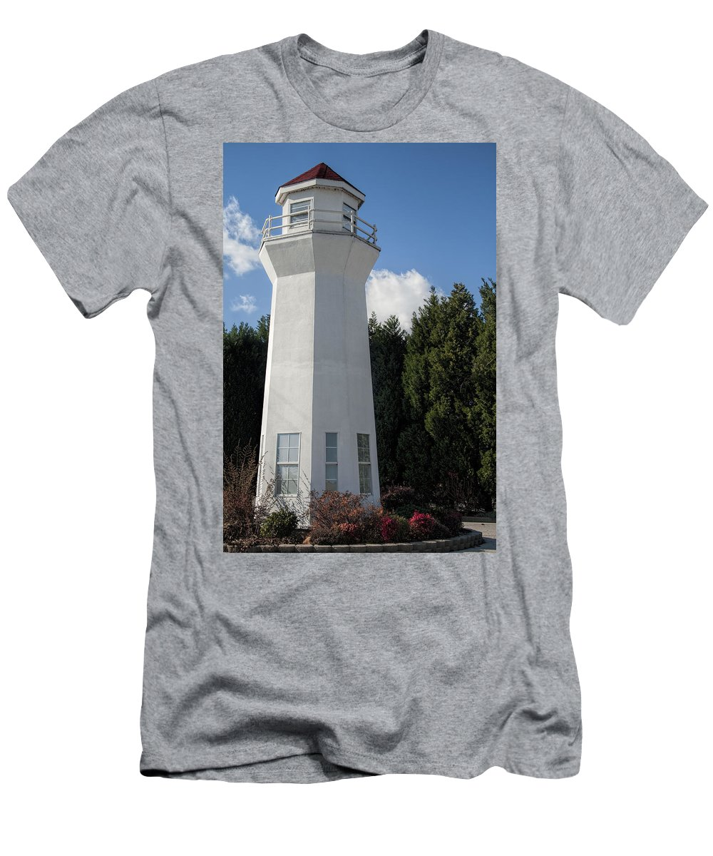 Lighthouse Men's T-Shirt (Athletic Fit) featuring the photograph Pretty Lighthouse In Decatur Alabama by Kathy Clark