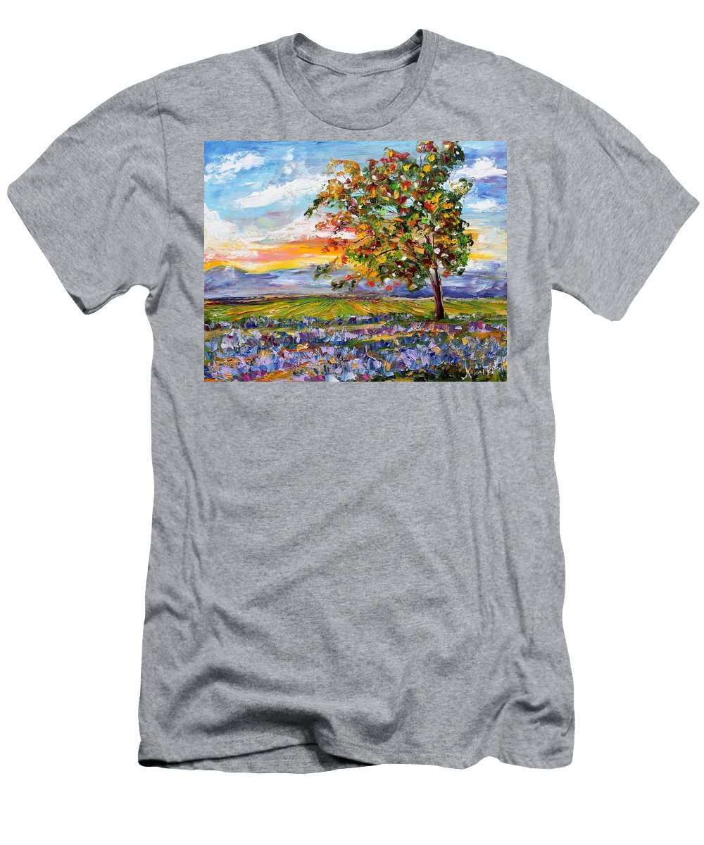 Landscape Men's T-Shirt (Athletic Fit) featuring the painting Provence Lavender Fields by Karen Tarlton