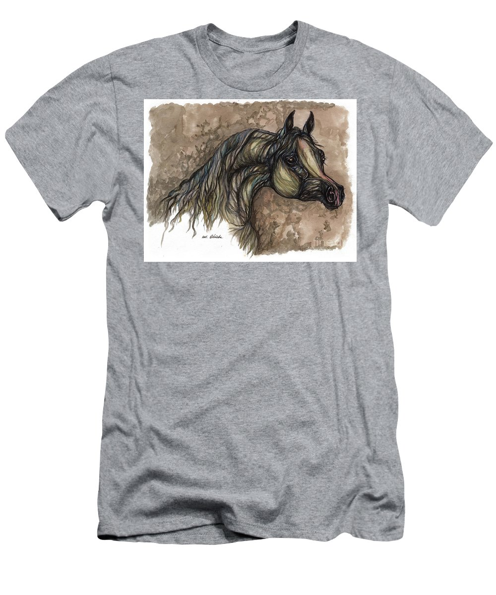Psychodelic Men's T-Shirt (Athletic Fit) featuring the painting Psychodelic Grey Horse Original Painting by Angel Ciesniarska